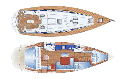 Layout Bavaria 44 yacht charter Croatia